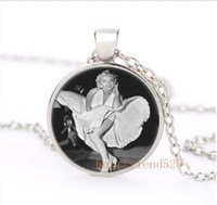 Wholesale Monroe Necklace - Sexy Marilyn monroe dress Cabochon Glass Silver Necklace for woman Jewelry Choker suede spiral cage pendant nepal jewelry canada gose
