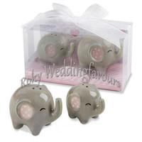 Wholesale baby shower ceramic favors resale online - DHL Sets Ceramic Favors Little Peanut Elephant Salt Pepper Shaker Kid Birthday Party Favors Baby Shower Ideas