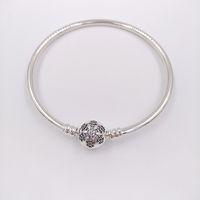 Wholesale pandora bracelets online - Authentic Sterling Silver Unique Snowflake Moments Silver Bangle Fits European Pandora Style Jewelry Charms Beads CZ