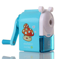Wholesale Cartoon Windmill - Wholesale-Hand Mechanical Pencil Sharpeners Pink Blue Cartoon Print Windmill Pencil Sharpener For Kids School Supplies