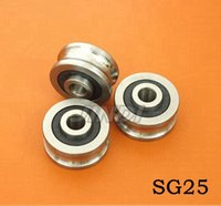 Wholesale Wholesale Guide Bearings - 20pcs high quality SG25 U Groove pulley wheel ball bearings 8*30*14 mm Track guide roller bearing SG8RS 8x30x14 (double row balls) ABEC-5