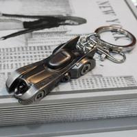 Wholesale Antique Ancient Key - New BATMAN V SUPERMAN Movies Accessories Keychain Strap Batman Chariot Batmobile Alloy Key Ring Ancient silver Black 50PCS LJJJ83