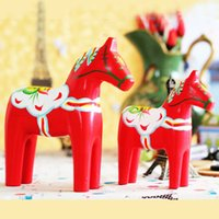 Wholesale Christmas Groceries - 2pcs set Zakka Grocery Wooden Crafts Animal Articles Sweden Dala Horse Painted Red for home decor Christmas Gift