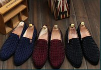 Wholesale Low Heel Pointy Shoes - HOTsale brand new free shipping Fashion Mens Punk Studded Rivet Spike Suede Pointy Loafer Casual Dress Shoes EU size 38-43