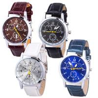 Wholesale Wholesale Mechanical Watches Swiss - Casual replicas mechanical luxury Business three-eye men's watch watches mens watches Wristwatches Swiss belt men's watch 291