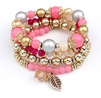 Wholesale Easter Candy Tin - Charms Bracelets for Women 2016 Bohemian Multilayer Candy Color Beads Tassels Bracelet Bangles For Women Elastic Stretch Beaded Bracelet