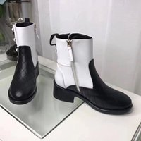 Wholesale Half Pearl Flat - 2017 new Arrivals fall Womens black white twotone Quilted real Leather pearl Jewelry Embellished short biker Motorcycle Boots