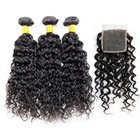Wholesale Malaysian Hair Tied Weft - Virgin Hair Bundles With Closure Water Wave Brazilian Hair 3 Bundles With Lace Closure 4x4 Swiss Lace Hand Tied Density 130% Natural Color