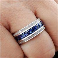 Wholesale Handmade Ring Settings - Handmade 14K White Gold Filled Square Simulated Diamond CZ Stone Overlay Eternal Wedding Engagement Ring for Women and Men