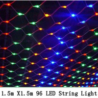 Wholesale C9 Led Christmas Bulbs - 1.5*1.5 m 96 Led 6flash modes 220V super bright net string light Christmas lights New year light wedding ceremony free shipping
