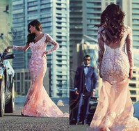 Black Girl Pink Robes de bal 2016 Couples Fashion Mermaid V Encolure avec Illusion Manches longues Sweep Tran Lace Appliqued Tulle Evening Gown
