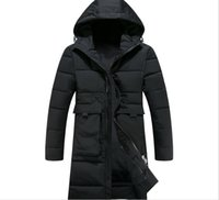 Wholesale Big Coats For Men - 3XL Long Thick Winter Coat Men New Clothing Jackets Business Solid Parka For Mens Fashion Overcoat Outerwear With Two Big Pockets T170911