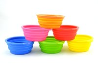 Wholesale Wholesale Collapsible Dog Water Bowl - Pet Dog Cat Fashion Silicone Collapsible Feeding Feed Water Feeders Foldable Travel Food Bowls Dish 6 colors Frisbee ZD036