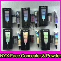 Wholesale types glitter - 6 colors NYX Glitter Primer Cream Concealer Cream Mini NYX Glitter Face and Body Shimmer Powder Eyeshadow Highlighter Powder DHL Free