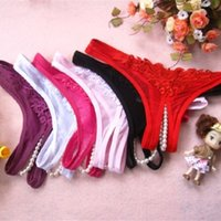 Wholesale Crotchless Thong Pearls - Wholesale-Sexy G-string Underwear Women Lady Lace Crotchless Intimates Briefs Open Crotch Erotic Lingerie Sex Thongs With Pearls Panties