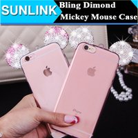 Wholesale Diamond Crystal Mouse - Customized DIY Bling Glitter Diamond Cute Cartoon Mickey Mouse Ear Case Crystal Clear Soft TPU Back Skin Cover for iPhone 6 6s Plus 5s se