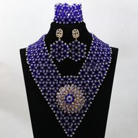 Wholesale Wholesale Blue Jewelry - Newest royal blue silver bracelet Necklace and Earring Sets Heart Design Crystal Material Bracelet Sets Exquisite party Wedding Jewelry Sets