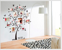 Nouveau Chic Black Family Photo Frame Arbre Fleur Butterfly Heart Mural Décoration Sticker mural Autocollant