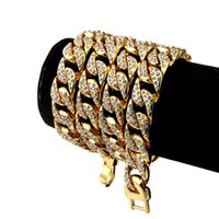 Wholesale Diamond Cuban Link - Heavy Extra-coarse 24K Solid Gold Plated MIAMI CUBAN LINK Exaggerated Shiny Full Rhinestone Necklace Hip Hop Bling Jewelry Hipster Men Chain