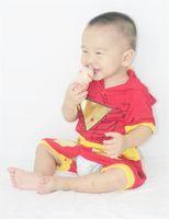 Wholesale Iron Man Romper - Iron Man Costume Halloween Costume Infant Baby Romper Jumpsuit 0-2Years Baby Pajamas Short Sleeve Hooded Homewear Sleepwear