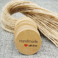 Wholesale Garment Labels Wholesale - 3.0cm 200PCS round handmade with love Kraft Paper Hang Tags+200PCS Hemp Strings garment Luggage Labels Mark gift paper tags 1-10