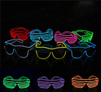 Синие эль-очки El Wire Fashion Neon LED Light Up Shutter Shaped Glow Rave Costume Party DJ Bright Glasses Бесплатная доставка по всему миру