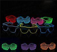 el tel neon blue toptan satış-Mavi el gözlük El Tel Moda Neon LED Işık Up Shutter Şekilli Glow Rave Kostüm Partisi DJ Parlak Gözlük Toptan Ücretsiz Kargo