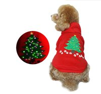 Wholesale Merry Christmas Costume - Merry Christmas Cos Colorful LED Light Dog Clothing Red Pet Comfortable Hoodie XS S M L Four Size