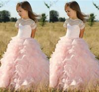 Wholesale Evening Dress Flower Girls - Pink Princess Ball Gown Flower Girl Dresses Sheer Lace Jewel Neck Ruffles Skirt Girls Communion Dress Kids Evening Prom Gowns For Wedding