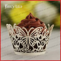 Wholesale Cheap Cupcakes Wrappers - Colorful Cup Cake Liners laser cut Butterflies Patterns Wedding Valentine Cheap Cupcake Wrappers Fancy Party Decorations