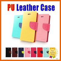 Wholesale Transparent Cards Wallet - PU Leather Wallet Cases Colorful Candy Flip Case Card Slide Cover for iPhone 7 6 6s Plus GALAXY S5 S6 S7 edge