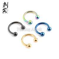 Wholesale Horseshoe Lip - 14 Gauge Titanium Anodized Ball Horseshoe 1.6*10*4mm Body Jewelry