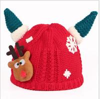 Wholesale Hot Girs - Winter Sets Baby Crochet Beanie Wool Hat Cartoon Horns Christmas Hat Wholesale Wool Keep Warm Cap 2016 Boys Girs 0-5 years Hot Sale