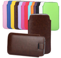 Tirez Housse en cuir Skin Tab Pouch Pocket pour l'iPhone 4 4S 5S Samsung Galaxy S3 S4 S5 Mini Note 2 3 S7562 HTC ONE M7 M8 Sony Xperia Z1 Z2