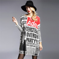 Wholesale Newspaper Sleeves - Wholesale- 2017 winter Women Pullovers Sweater Knitted wool Print newspaper Loose Oversized Sweaters High Quality plus size