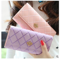Wholesale Embroidery Wallets - 2017 High Quality Women Wallets Leather Long Ladies Luxury Purse Women's Fashion Embroidery Diamond Crown Lady Flip Long Wallet