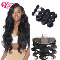 Wholesale wave hair india for sale - Group buy 100 Unprocessed India Virgin Human Hair Body Wave Bundles With Ear to Ear Silk Base Frontal Pre plucked Baby Hair