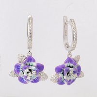 Wholesale Purple Enamel Dangle Earrings - HOT SALE Enamel Earrings For Women Simulation Purple Flower 925 Sterling Silver Jewelry HANGMADE Manufacture OEM ODM High-quatity