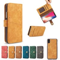 Wholesale Seperate Iphone - Retro Leather Wallet Magnet 2 in1 Phone Case For iphone x 8 7 6 6s plus Seperate 2 in 1 Flip cover for samsung s7 Huawei mate9 sony OPPBag