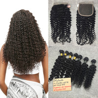 Wholesale Pcs Parts - Brazilian Kinky Curly Hair 5 Bundles with Lace Closure Free Middle Three Part 100% Unprocessed Virgin Human Hair Weave 50g pc Natural Color