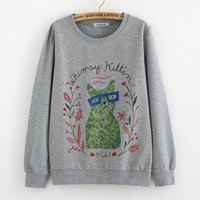 Wholesale Wholesale University Clothing - Wholesale- Teenage print tops sweatshirts for big girls long sleeve tees 14T 16T 18T college clothes fit university students vintage style