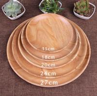 pratos japoneses venda por atacado-15 cm 18 cm 20 cm 24 cm 27 cm De Madeira de borracha prato de sobremesa bandeja de frutas pratos pratos pratos japoneses e coreanos estilo