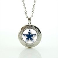 Wholesale Team Sports Accessories - Fashion wedding accessory star locket necklace Dallas Cowboys team Newest mix 32 sport team pins Souvenirs jewelry gift NF002