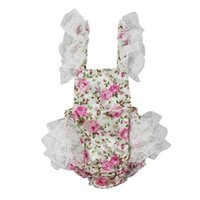 Wholesale outfits vintage - Vintage Floral Big Lace Flutter Sleeve Baby Romper Cute Backless Ruffled Newborn Outfit Party Baby Clothes Romper Pattern
