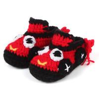 ingrosso stivali di crochet del bambino che lavorano a maglia-Scarpe bambino all'uncinetto Scarpe fatte a mano primo camminatore Scarpe bambino neonato Mccasins Prewalker Scarpe bambino Neonate Ragazzi Pantofole Infantile