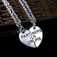 Wholesale Heart Bff Necklaces - 2016 Hot Partners in crime neckalces broken heart neckalce best friends necklace BFF necklaces