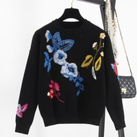 Wholesale Crochet Flower Orchid - Autumn 2016 Black Flowers Orchid Embroidery Long Sleeves Women's Sweater Top Quality Celebrity Women's Pullovers 101201