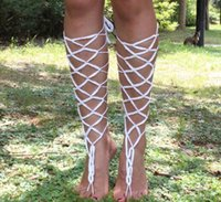 Wholesale Lace Pearl Bracelets - Bridal Beach Handmade Crochet Barefoot Sandals Gladiator Style Lace Up Cotton Barefoot Sandals Bracelet Heels Anklets for Her Sexy Body
