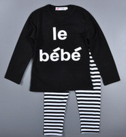 Wholesale Bebe T Shirts - Newest Children Outfits Set Spring Autumn baby boy girl clothes set letters le bebe long sleeve t-shirt+stripe Trousers Kids Clothing 12M-4T