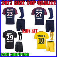 Wholesale White Children T - NEW 2017 2018 PSG NEYMAR JR KIDS jersey MBAPPE CAVANI LUCAS soccer third survetement HOME AWAY 17 18 T SILVA DRAXLER child maillot de foot
